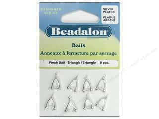beading & jewelry making supplies: Beadalon Pinch Bail Triangle Silver Plated 8 pc.
