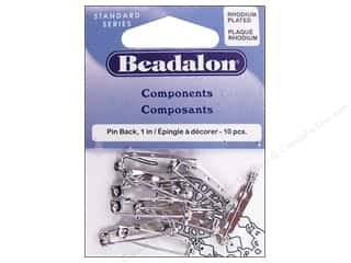Beadalon Needles: Beadalon Pin Back 1 in. Rhodium Plated 10 pc.