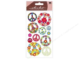 stickers: EK Sticko Stickers Floral Peace Signs