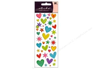 stickers: EK Sticko Stickers Puffy Hearts N Stars