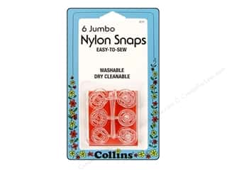 Quilting Collins: Nylon Snaps by Collins Jumbo Clear 6 sets