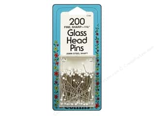 Glass Head Pins by Collins 1 3/8 in. White 200 pc.