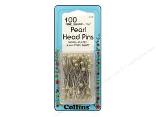 Pearl Head Pins by Collins 1 1/2 in. White 100 pc.