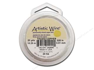 beading & jewelry making supplies: Artistic Wire 24 ga. Copper Wire 20 yd. Tinned