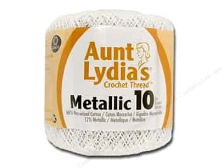 yarn & needlework: Aunt Lydia's Metallic Classic Cotton Crochet Thread Size 10 100 yd. White/Pearl