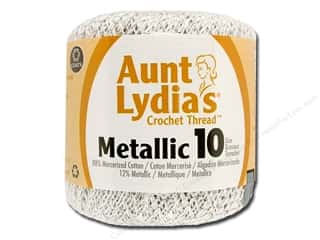 yarn & needlework: Aunt Lydia's Metallic Classic Cotton Crochet Thread Size 10 100 yd. White/Silver