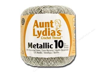 yarn & needlework: Aunt Lydia's Metallic Classic Cotton Crochet Thread Size 10 100 yd. Silver/Silver