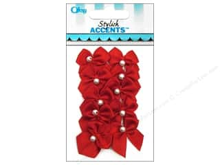 Offray 2 Loop Ribbon Bow with Pearl 10 pc. Red
