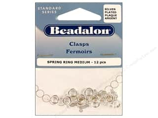 beading & jewelry making supplies: Beadalon Spring Ring Clasps 7 mm Silver 12 pc.