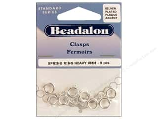 beading & jewelry making supplies: Beadalon Spring Ring Clasps 9 mm Silver 9 pc.