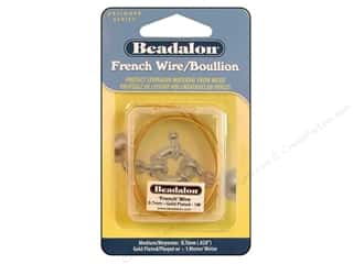 beading & jewelry making supplies: Beadalon French Wire 0.7 mm (.028 in.) Gold Color 1 m (39.3 in.)