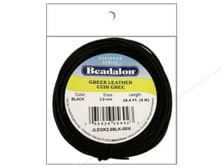 beading & jewelry making supplies: Beadalon Greek Leather Cord 2.0 mm Black 16.4 ft.