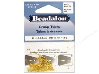 craft & hobbies: Beadalon Crimp Tubes 1.3 mm Gold Plated .05 oz.