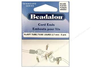 Beadalon Greek Leather Cording : Beadalon Cord Ends Heavy 2.7 mm Silver Plated 5 pc.