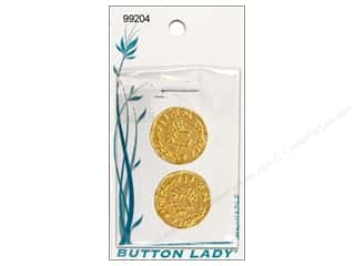 JHB Button Lady Buttons 3/4 in. Bright Gold Coin #99204 2 pc.