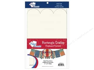 Paper Accents Chipboard Pennants 5 x 8 in. Scallop Rectangle 9 pc. White