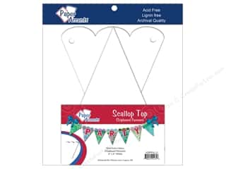 Paper Accents Chipboard Pennants 4 x 6 in. Scalloped Top 9 pc. White
