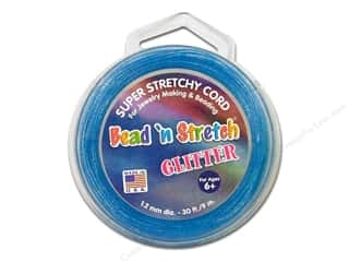 beading & jewelry making supplies: Toner Bead 'N Stretch Cord 1.2 mm x 30 ft. Glitter Blue