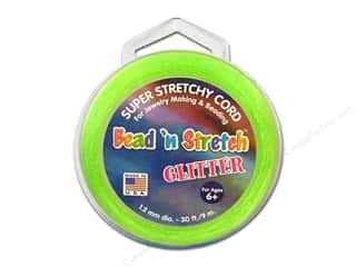 beading & jewelry making supplies: Toner Bead 'N Stretch Cord 1.2 mm x 30 ft. Glitter Lime