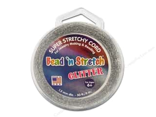 beading & jewelry making supplies: Toner Bead 'N Stretch Cord 1.2 mm x 30 ft. Glitter Silver