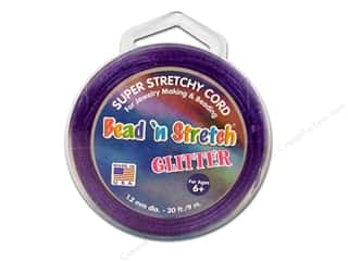 Twine: Toner Bead 'N Stretch Cord 1.2 mm x 30 ft. Glitter Purple