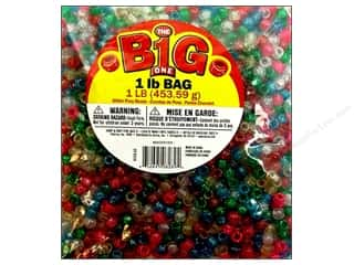 beading & jewelry making supplies: Darice Pony Beads 6 x 9 mm 1 lb. Multi Glitter