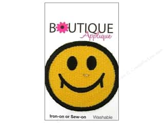 Blumenthal Boutique Applique 1 7/8 in. Yellow Happy Face