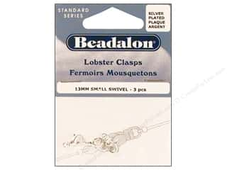 beading & jewelry making supplies: Beadalon Lobster Clasps Swivel 13 mm Silver 3 pc.