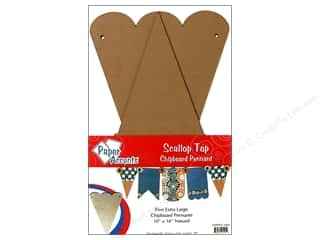 Paper Accents Chipboard Pennants 10 x 16 in. Scallop Top 5 pc. Kraft