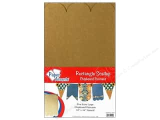 Paper Accents Chipboard Pennants 10 x 16 in. Scallop Rectangle 5pc. Kraft