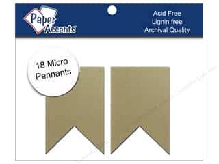 Paper Accents Chipboard Pennants 1 1/4 x 2 in. Micro Two Point 18 pc. Kraft
