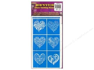 craft & hobbies: Armour Rub 'n' Etch Stencil Fancy Hearts