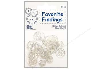 Clearance Blumenthal Favorite Findings: Blumenthal Glitter Buttons Clear 20 pc.