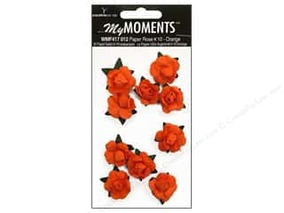 Hot off the Press  Papers : My Moments Embellishment Flower Paper Mini Roses Orange (3 packages)