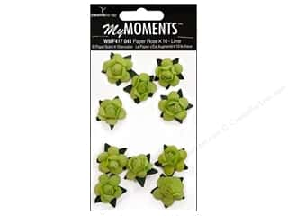 Hot off the Press  Papers : My Moments Embellishment Flower Paper Mini Roses Lime (3 packages)