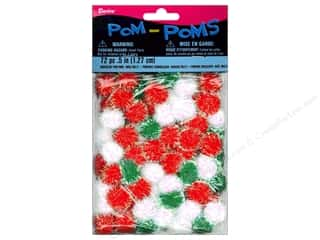 Pom Poms tinsel: Darice Pom Poms 1/2 in. (19 mm) Christmas Iridescent Multicolor 72 pc.