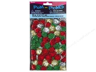 Pom Poms tinsel: Darice Pom Poms 1/2 in. (13 mm) Christmas Tinsel Multicolor 80 pc.