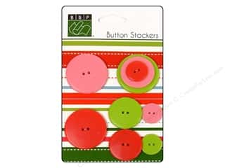 Novelty Buttons: Bazzill Buttons Stackers 9 pc. Christmas Circle