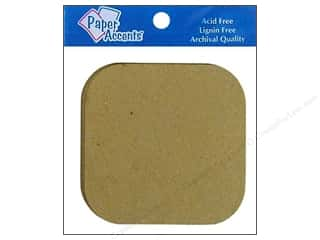 chipboard shapes: Paper Accents Chipboard Shape Square with Round Corner 8 pc. Kraft