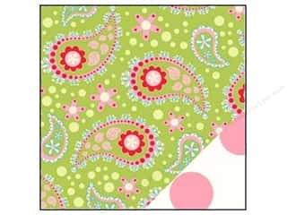 Bazzill paper 12x12: Bazzill Paper 12x12 Divinely Sweet Green Paisley/Jumbo Pink Dot 25 pc.