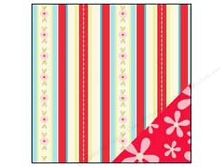 Bazzill flowers: Bazzill 12 x 12 in. Paper Divinely Sweet Flower Power Red/Flower Stripe 25 pc.
