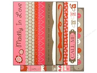 Clearance Bazzill Lickety Slip Journaling Cards: Bazzill 12 x 12 in. Paper Lickety Slip Love Story Borders 25 pc.