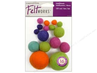 Dimensions Feltworks 100% Wool Felt Embellishment Balls Bright Assortment
