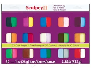 Polymer Clay: Sculpey III Polymer Clay Color Sampler 30 pc.