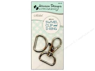 "1 3/16"" D rings: Atkinson Designs Swivel Clip And D Ring 3/4 in. Nickel"