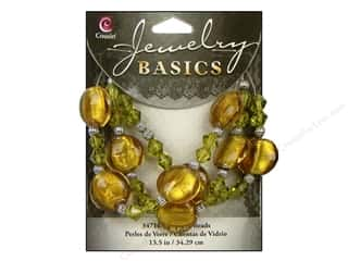 Cousin Basics Glass and Metal Beads 15 mm Bicone Round Topaz