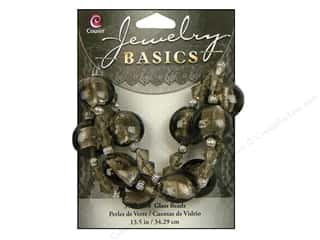 Cousin Basics Glass and Metal Beads 15 mm Bicone Round Smoke