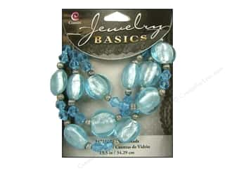 Cousin Basics Glass and Metal Beads 15 mm Bicone Round Light Aqua