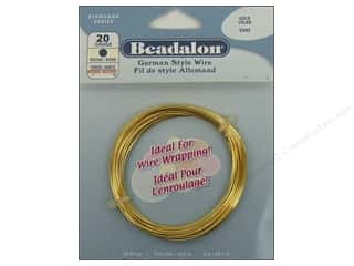 beading & jewelry making supplies: Beadalon German Style Wire 20ga Round Gold 19.7 ft.