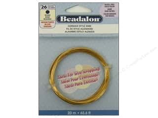 beading & jewelry making supplies: Beadalon German Style Wire 26ga Round Gold 65.6 ft.